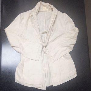 Dkny Linen Tie Waist Tunic Jacket
